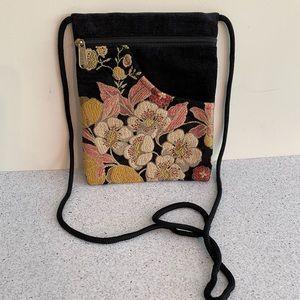 Unique crossbody bag purse black velvet tapestry
